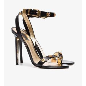Versace Black Medusa Leather Sandal Heels